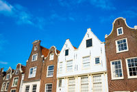 Famous facades of the beguinage in Amsterdam