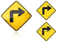 Set of variants Right Sharp turn traffic road sign