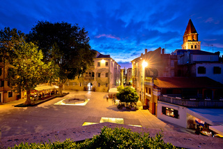 Five wells square in Zadar night view