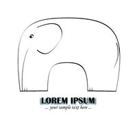 skizzierter elefant als logo oder illustration