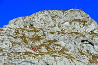 Roter Wagen der Pilatusbahn auf der steilen Bahnstrecke am Pilatus Bergmassiv,Schweiz