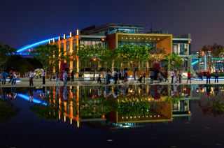 SHANGHAI - MAY 24: Reflection pavilion over water. May 24