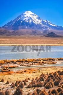 Snowcapped Nevado Sajama volcano