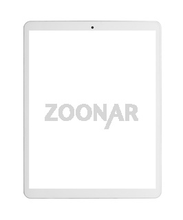 Modern white tablet pc with blank screen.