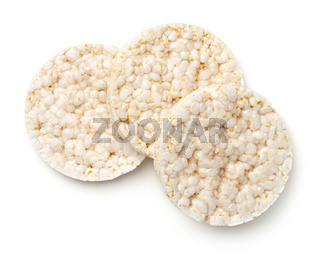 Puffed Rice Bread Isolated on White Background