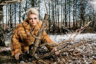 Woman Wearing Fur Coat