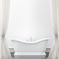 Interior background - bathroom with white curtains. Mock up background - 3D illustration