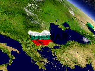 Bulgaria with embedded flag on Earth