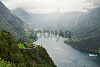 Geiranger at the end of the Sunnylvsfjorden, Norway