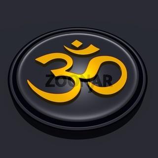 3D - Golden OM sign on black Medallion 02