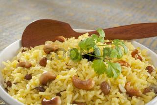 Indian Basmati Rice Pilau Close-up