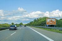 Wurmlinger Kapelle sign, Autobahn, Germany