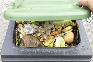 open organic waste bin