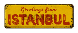 Vintage metal sign on a white background - Greetings from Istanbul