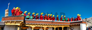 Monks in row on roof in Ladakh