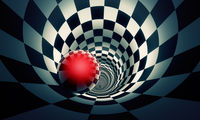 Perspective and predetermination. Red ball in a chess tunnel (concept image). The space and time. 3D illustration.