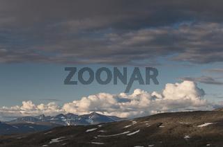 Blick zu Gipfeln im Sarek Nationalpark, Welterbe Laponia, Lappland, Schweden