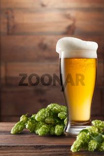 keg of beer and hops.