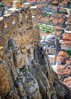 Karahisar castle walls on a hill over the old city of Afyon, Turkey