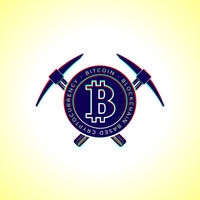 Bitcoin currency mining logo sign