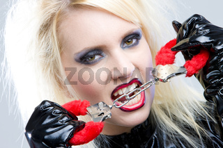 woman''s portrait with handcuffs