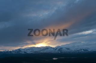 Abendstimmung im Portemassiv, Sarek Nationalpark, Welterbe Laponia, Lappland, Schweden