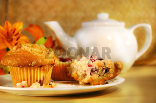 Cranberry muffins and tea
