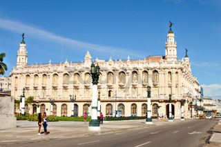 Traffic in front of the National Theatre (Alicia Alonso) of Havana near the Central Park, Cuba