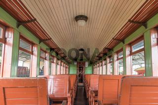 Old train wagon interior in Tiradentes, a Colonial city