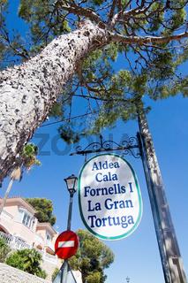 Cala Fornells La Gran Tortuga restaurant sign Mallorca