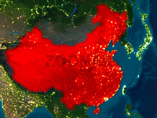 China in red at night
