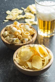 Crispy potato chips and rings.