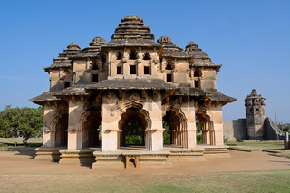 Lotus Mahal, General view of facade, Hampi Monuments, Karnataka
