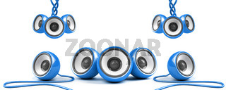 blue stylish high-power stereo system with cables