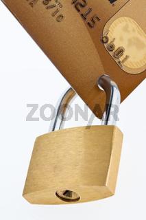 Kreditkarte und Schloß. Symbol Sicherheit