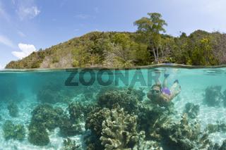 Korallen im Flachwasser, Indonesien