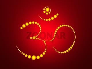 Om Balls Gold on Red