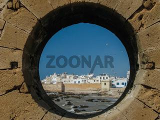 View of Essaouira through round window