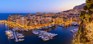 Monaco Ville Harbour night panorama city skyline, Monte Carlo, Monaco