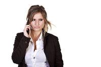 Junge Frau zweifelnd am Handy