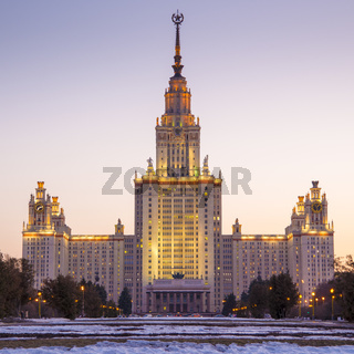 Lomonosov Moscow State University in the evening.