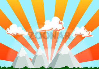 mountain landscape cartoon illustration - sunset sky and clouds