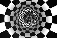 Chess spiral (concept image). The space and time. 3D illustration.