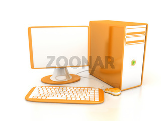Computer over white background