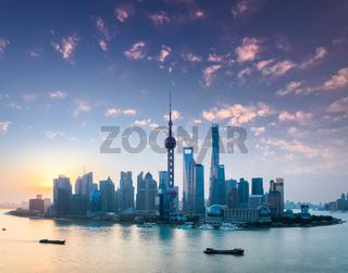 shanghai skyline with morning glow