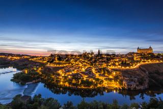 Night cityscape of illuminated Toledo in Spain