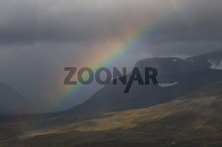 Regenbogen im Rapadalen, Sarek Nationalpark, Welterbe Laponia, Lappland, Schweden