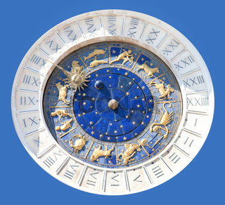 Astronomical clock in Venice, isolated