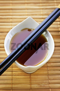 Soy sauce with chopsticks