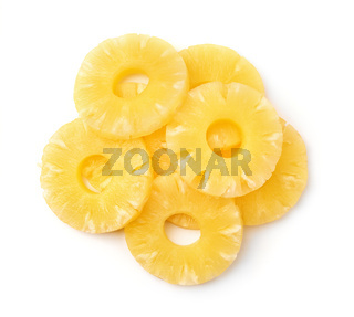 Top view of canned pineapple rings